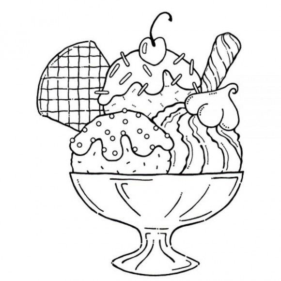 Ice Cream Sundae Coloring Page - Ice Cream Coloring Pages
