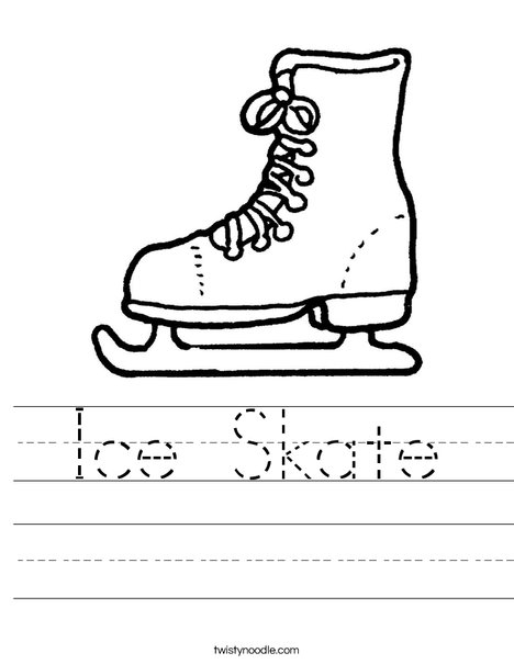 ice skating coloring pages - ice skate worksheet