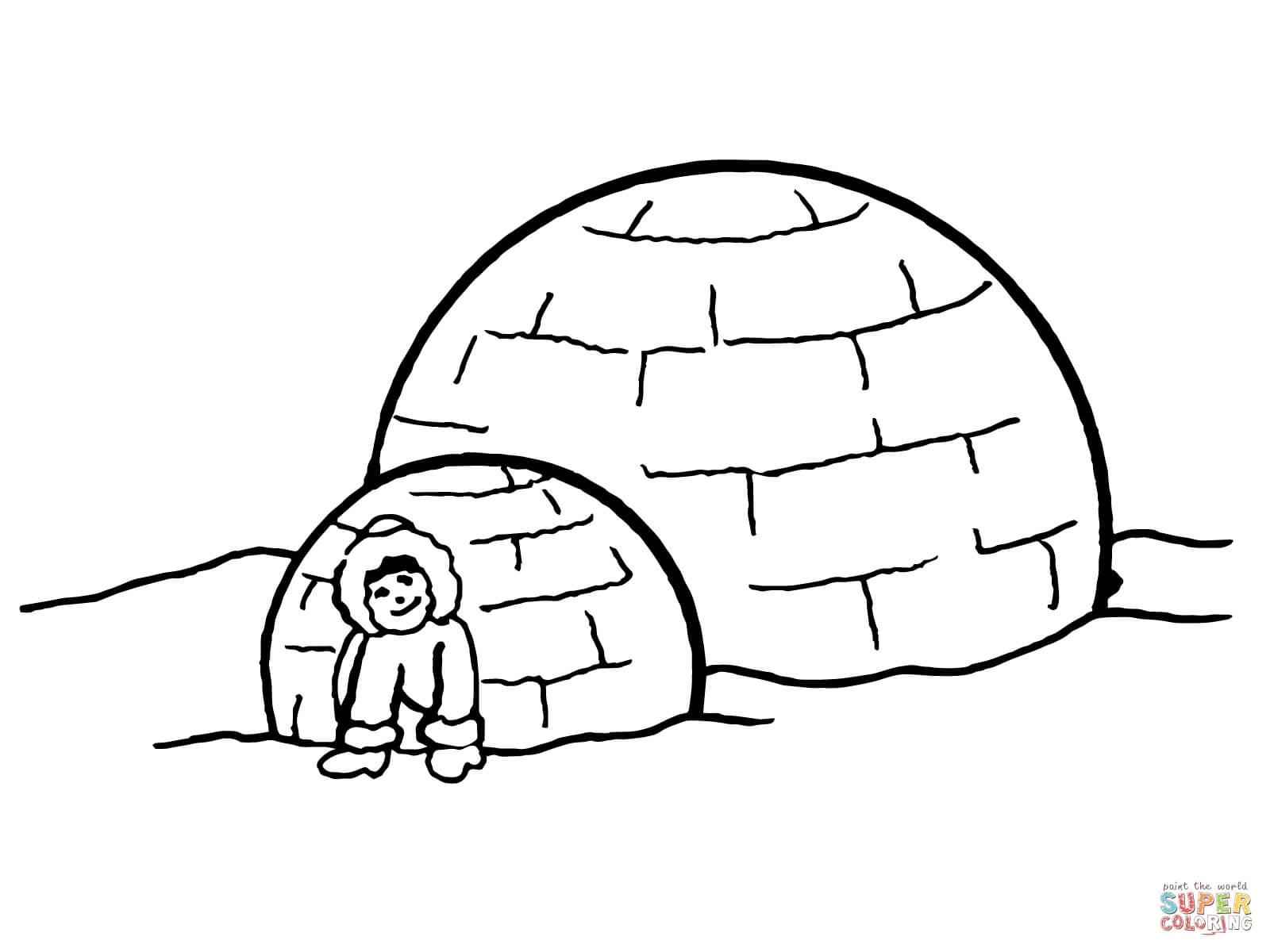 igloo coloring page - inuit igloo