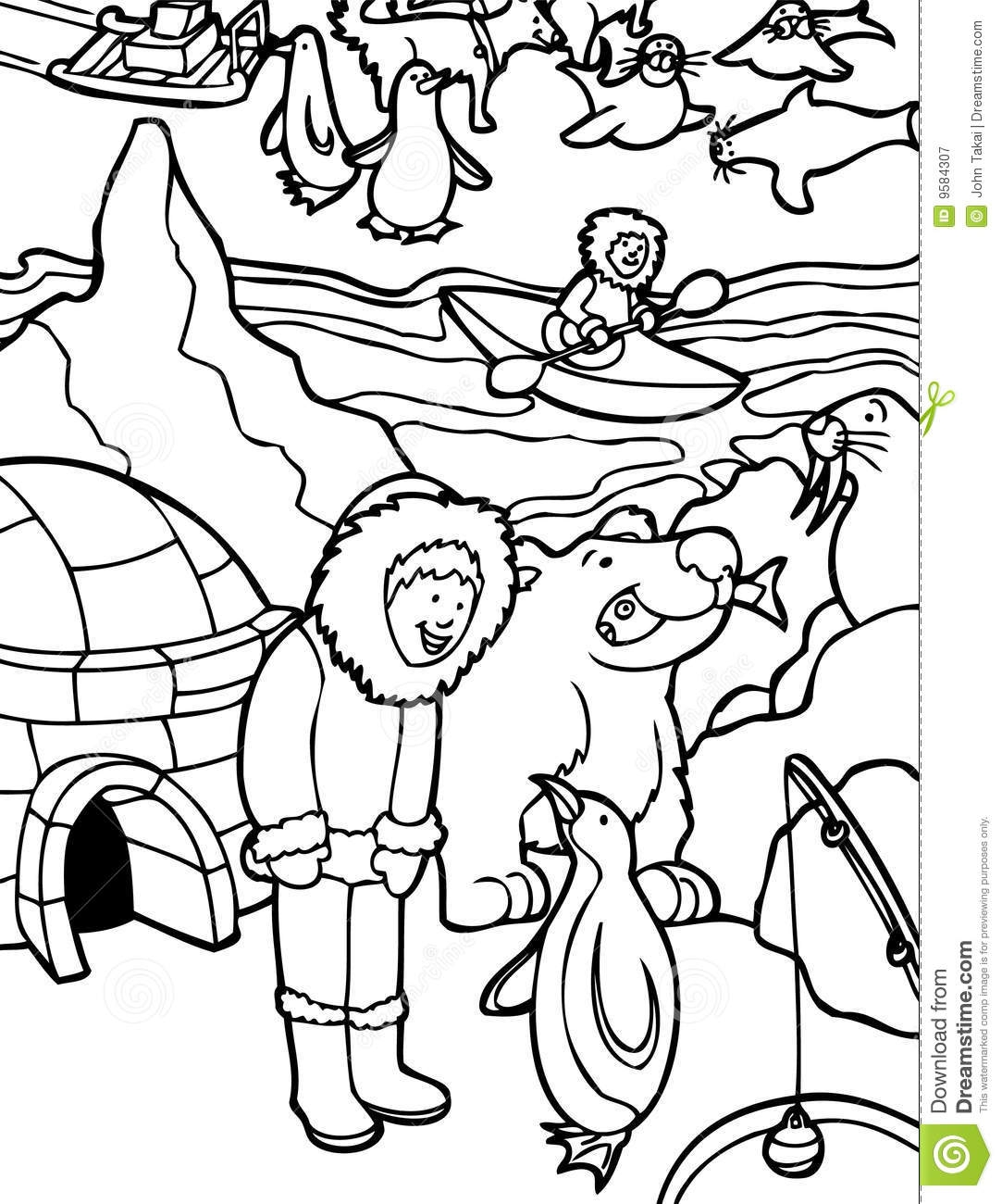 igloo coloring page - royalty free stock photography eskimo alaska black white image