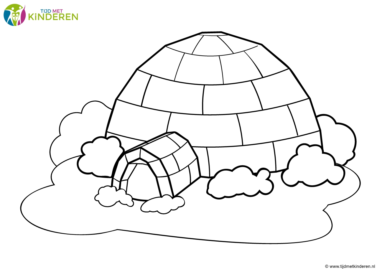 igloo coloring page - kleurplaat winter