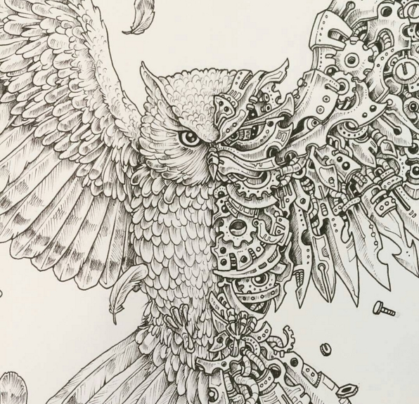 imagimorphia coloring pages - eagle scribble kerby rosanes