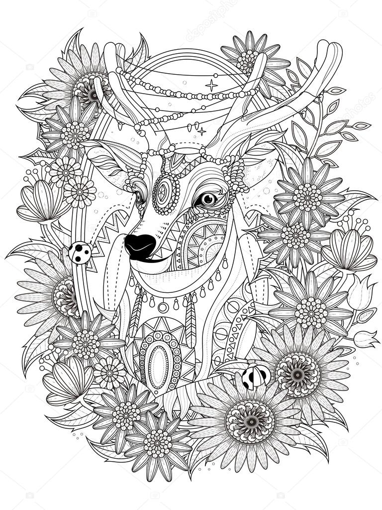 imagimorphia coloring pages - stock illustration gorgeous deer coloring page