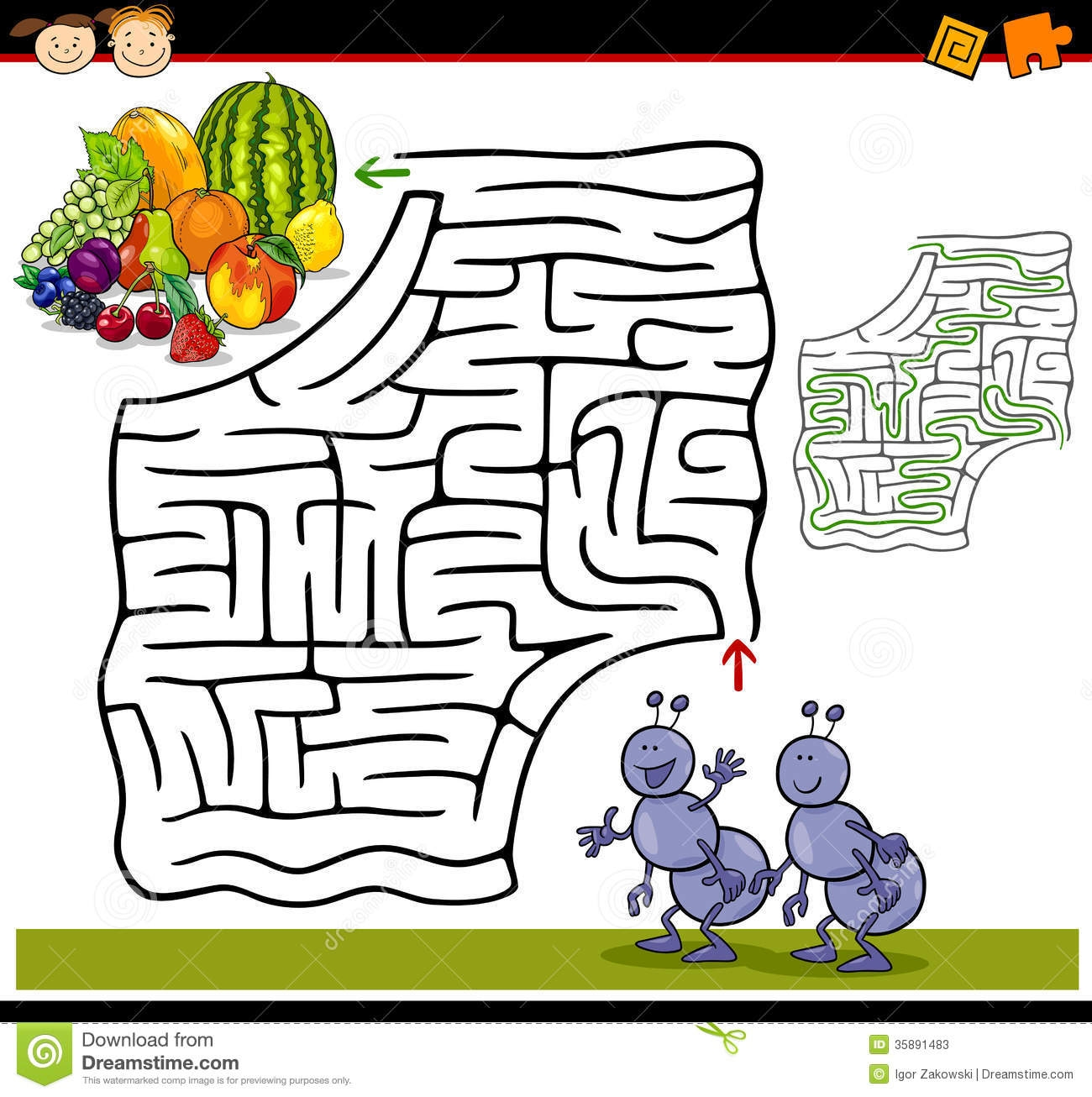 insect coloring pages - stock photos cartoon maze labyrinth game illustration education preschool children funny ants fruits image