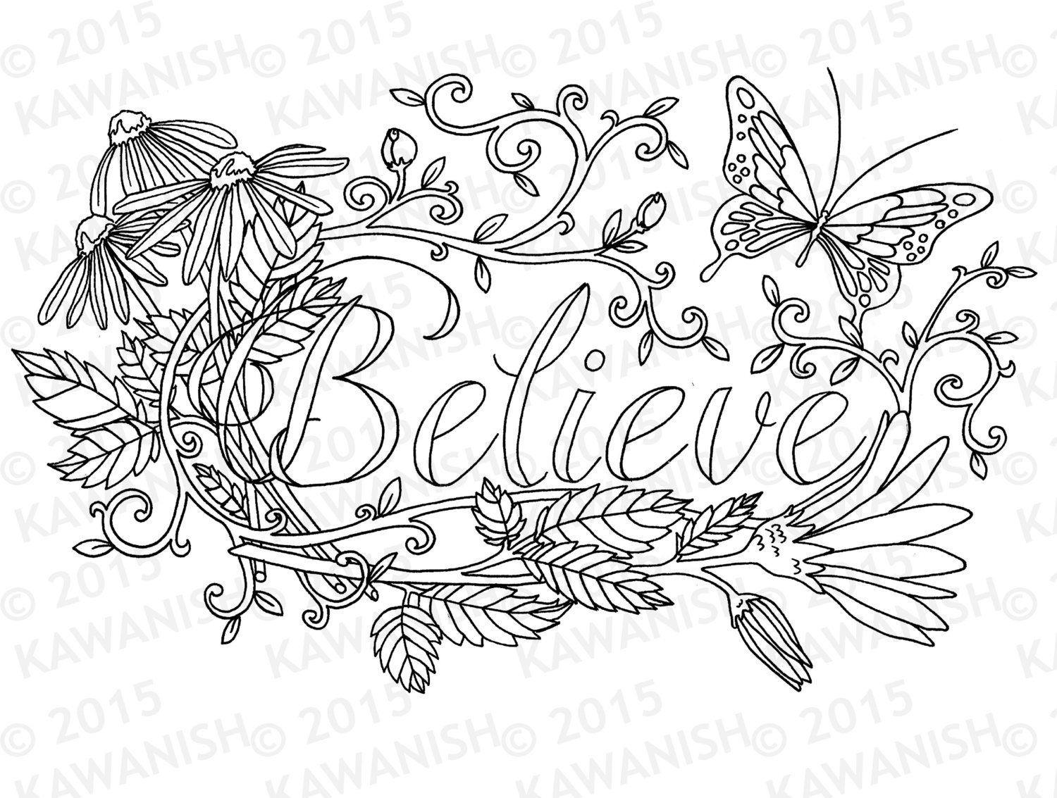 inspirational adult coloring pages - believe flower inspirational adult