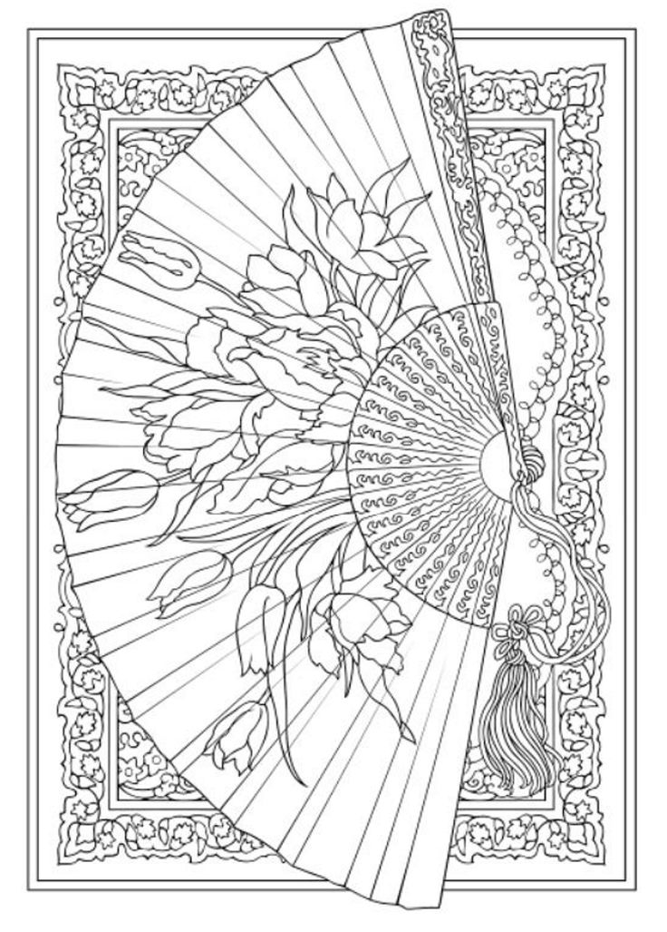 intricate coloring pages - fans