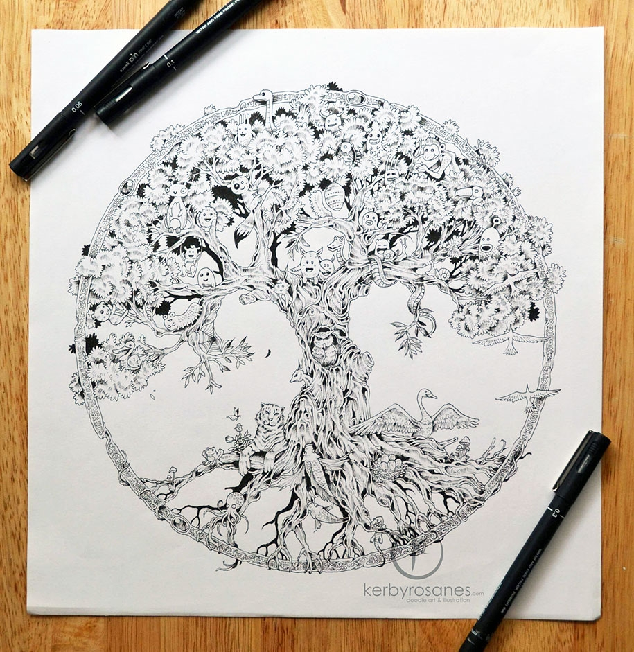 intricate coloring pages - detailed pen drawings kerby rosanes