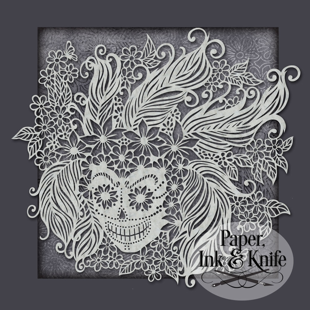 intricate coloring pages - skull with feathers papercut template