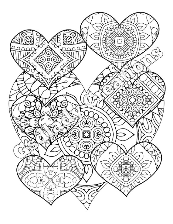 intricate coloring pages - zentangle coloring page heart pattern