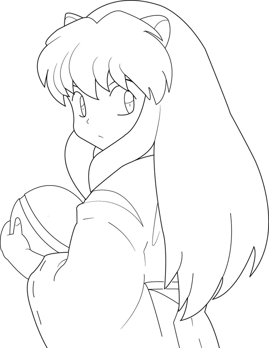 inuyasha coloring pages - inuyasha and kagome coloring pages