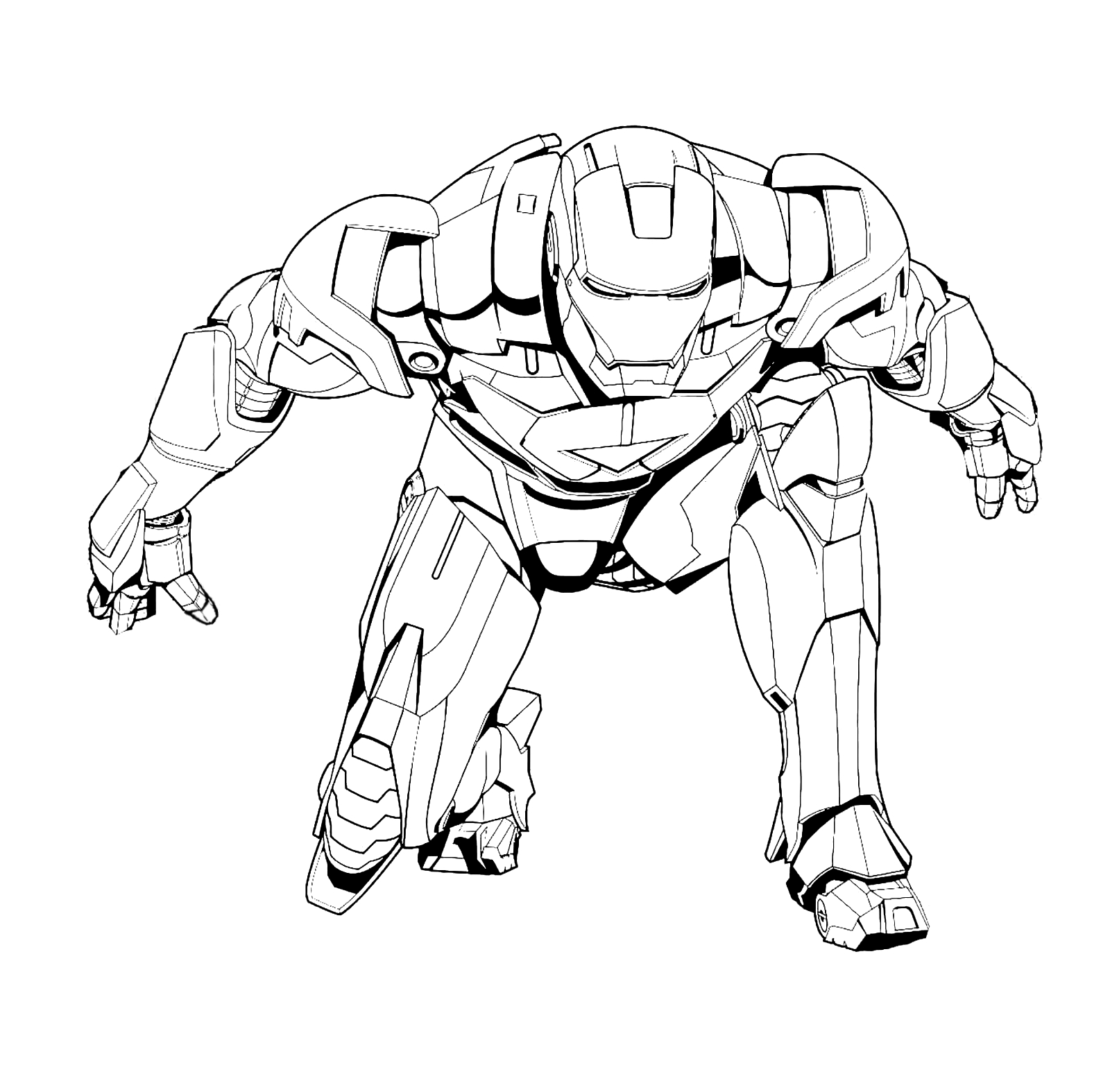 iron man coloring pages - iron man atterrato con la sua possente armatura