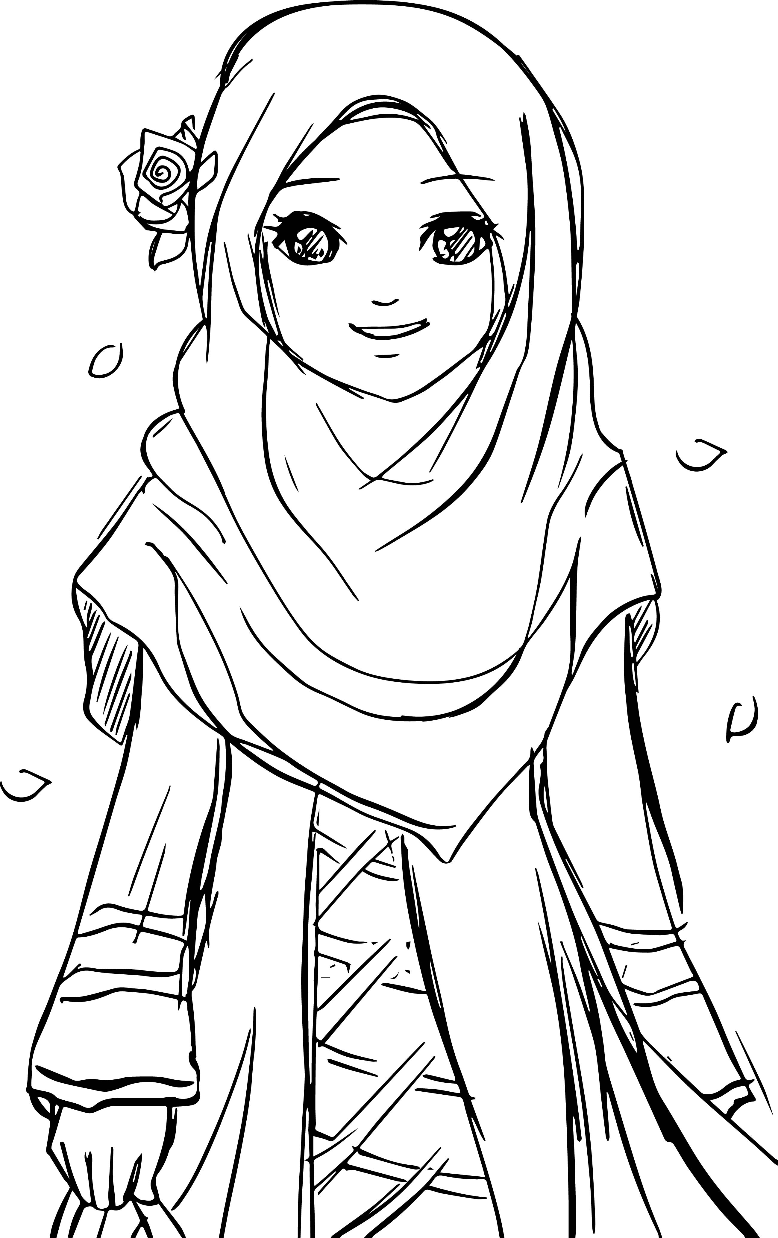 islamic coloring pages - page of muslim woman sketch templates