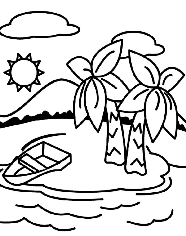 Island Coloring Page - Deserted island