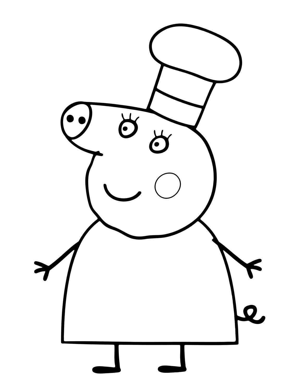 it coloring pages - mummy pig wearing the chef hat
