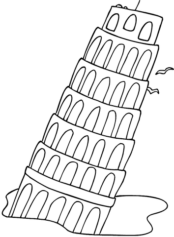 italy coloring pages - la tour de pise