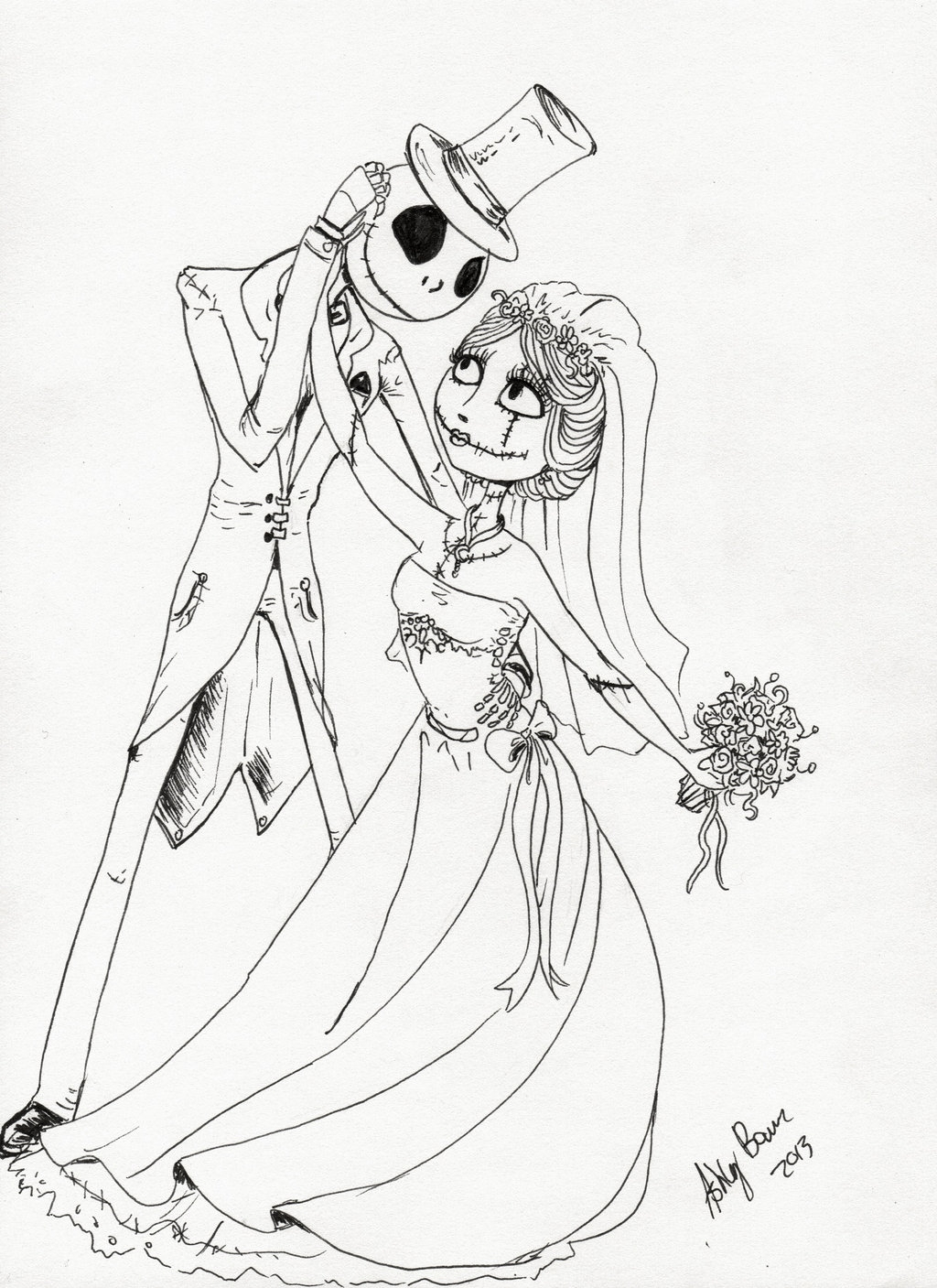 jack and sally coloring pages - jack and sally love