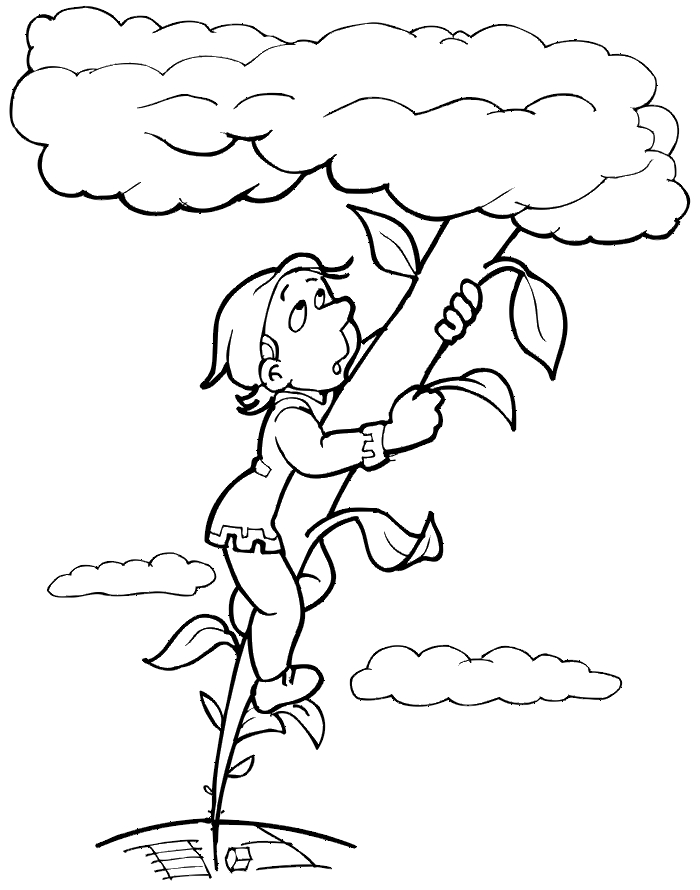 jack and the beanstalk coloring pages - jack climbing beanstalk