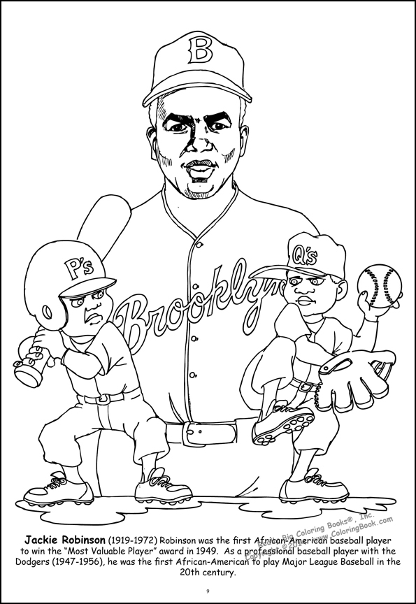 jackie robinson coloring page - african american leaders large coloring book
