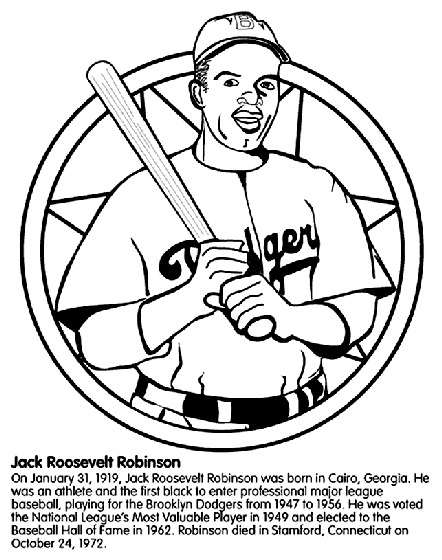 jackie robinson coloring page - jackie robinson baseball player coloring page