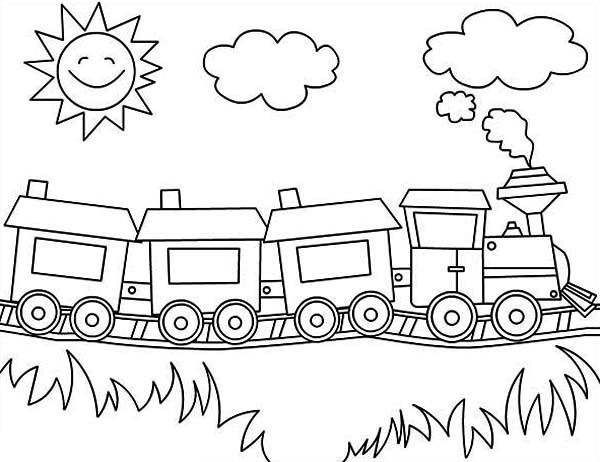 jacob and esau coloring page - steam train on sunny day coloring page