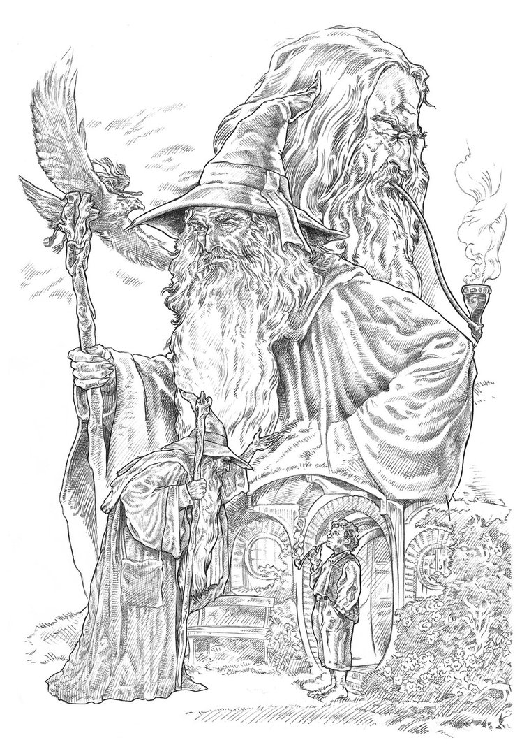 january coloring pages - Gandalf