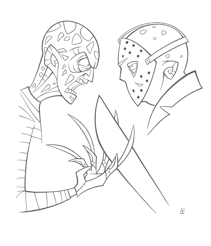 Jason Coloring Pages - Freddy Vs Jason Ink by Inkjava On Deviantart