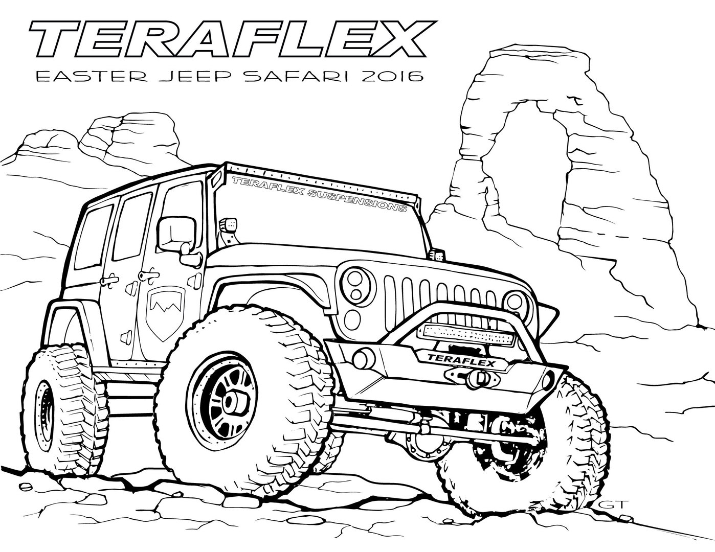 jeep coloring pages - jeep wrangler off road coloring pages sketch templates