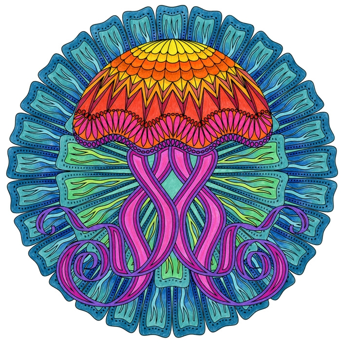 jellyfish coloring page - coloring ocean mandalas is here preview the book