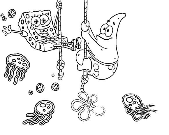 jellyfish coloring page - patrick spongebob coloring pages