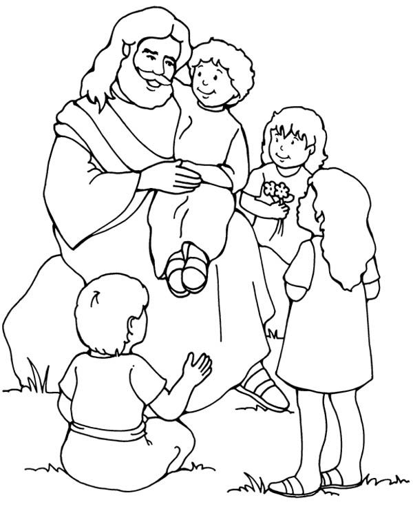 jesus and the children coloring page - bible coloring pages