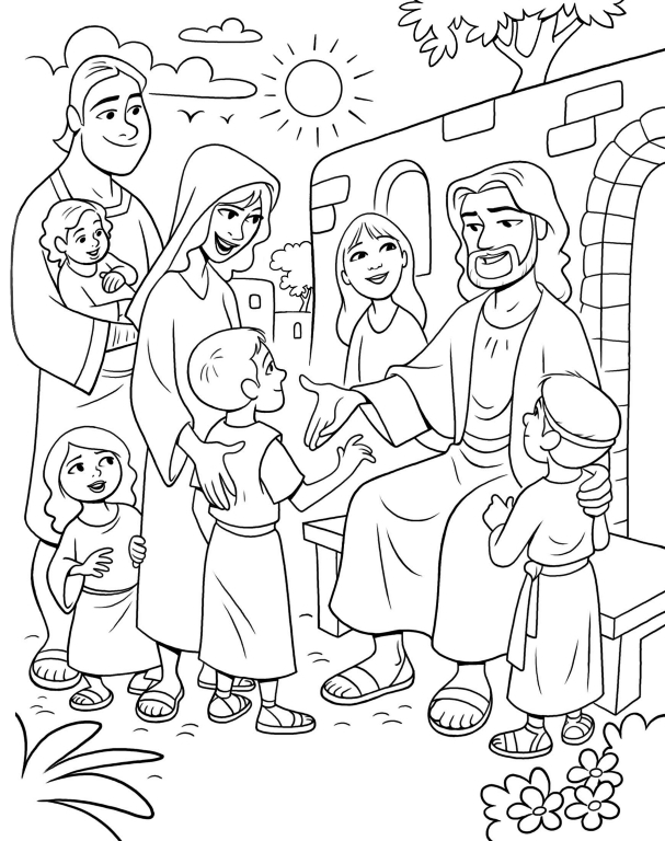 jesus and the children coloring page - coloring page jesus children lang=eng