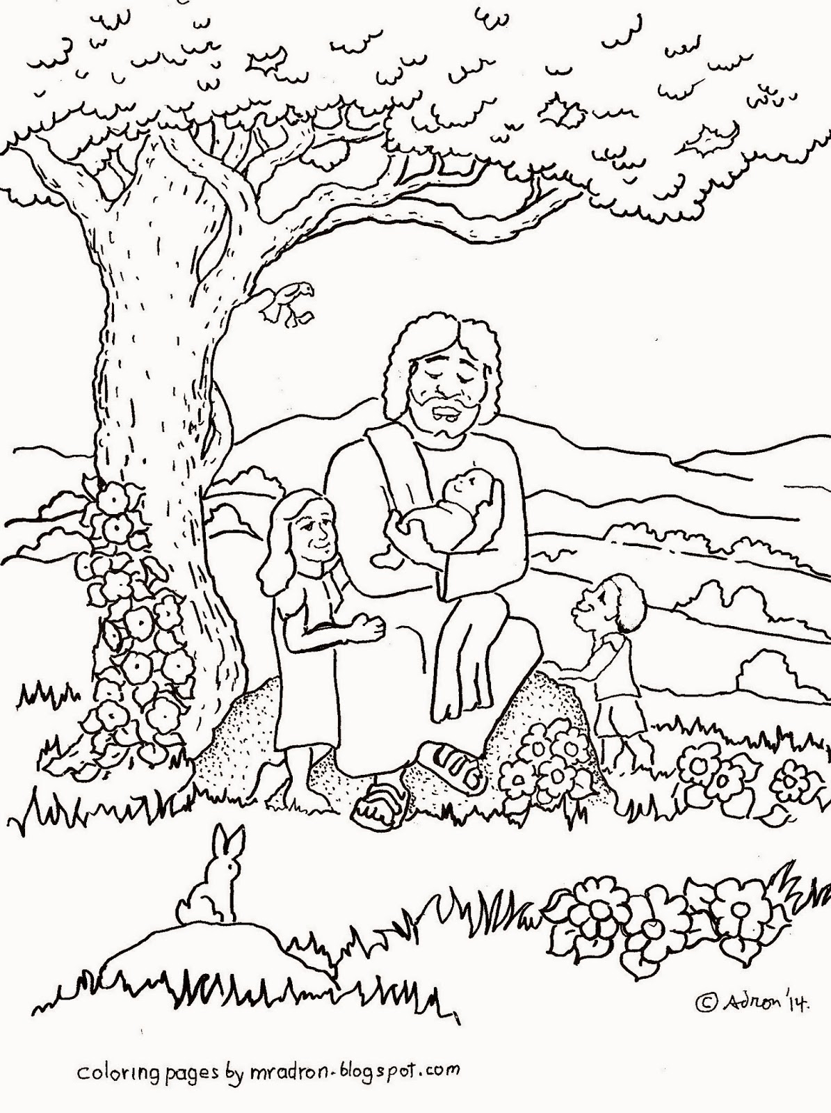 jesus and the children coloring page - jesus blesses children free coloring