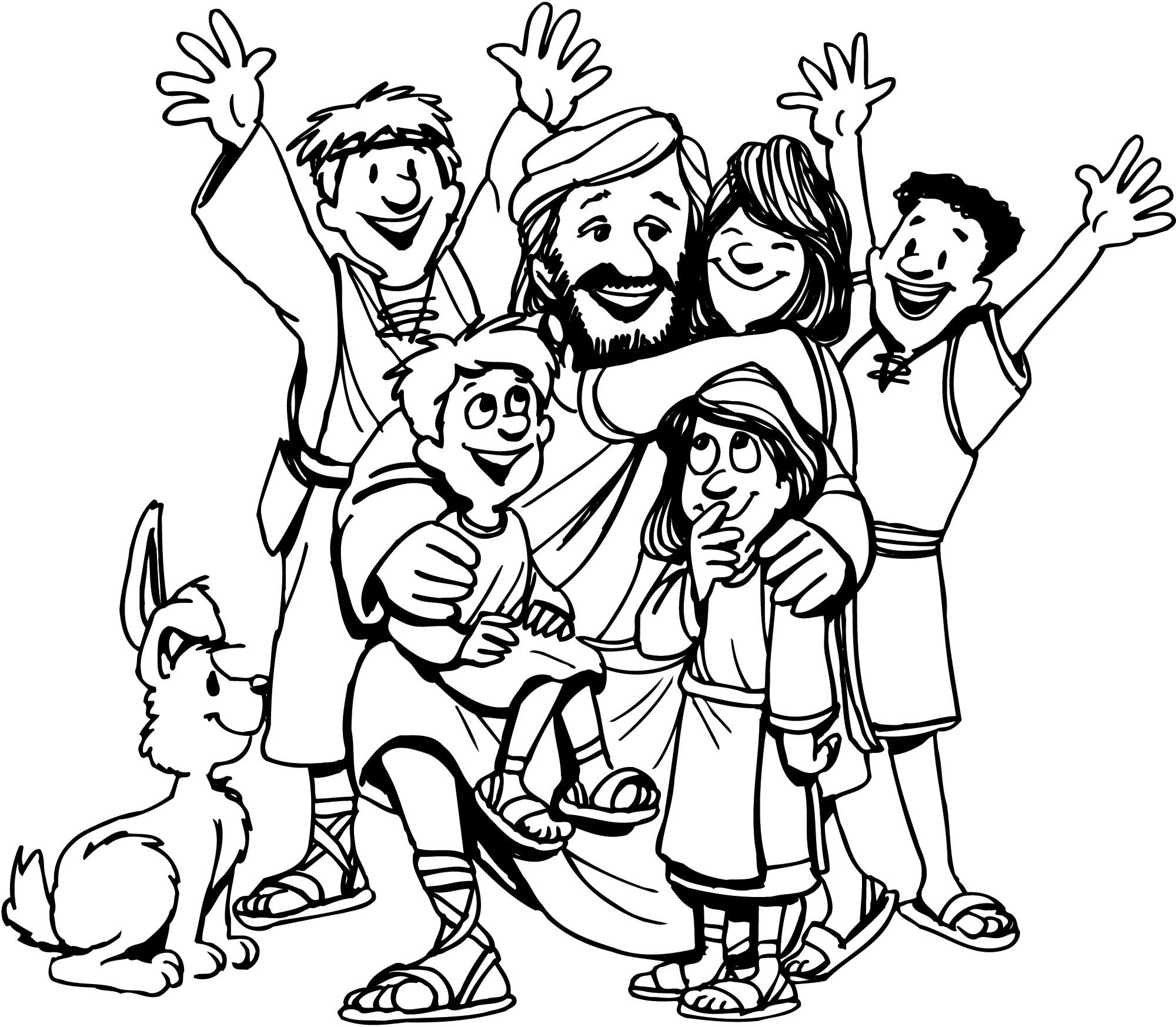 jesus and the children coloring page - easter coloring pages