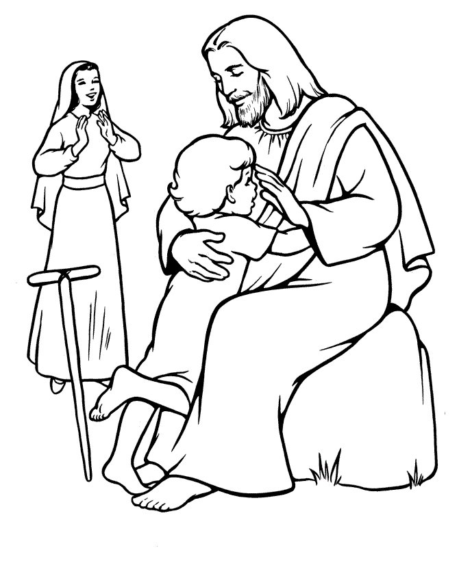 jesus and the children coloring page - jesus coloring pages