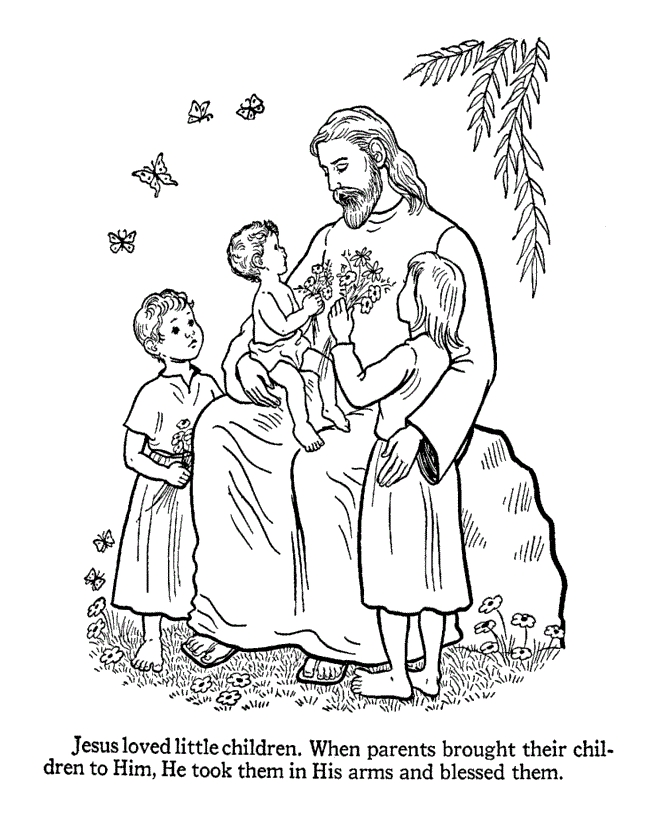 Jesus and the Children Coloring Page - Free Printable Jesus Coloring Pages for Kids