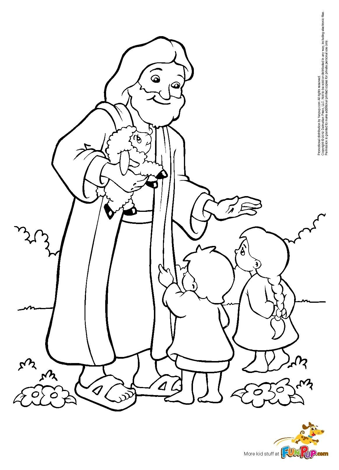 jesus and the children coloring page -