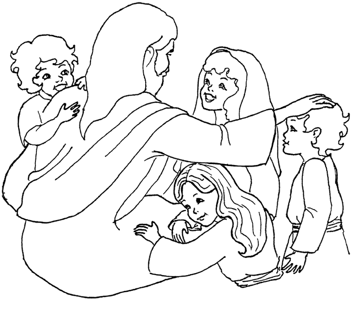 jesus and the children coloring page - jesus and children colorpg