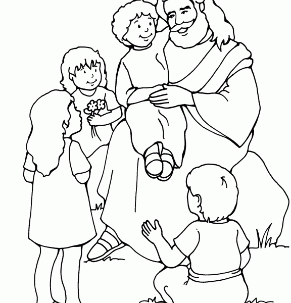 jesus and the children coloring page - jesus and the children coloring pages
