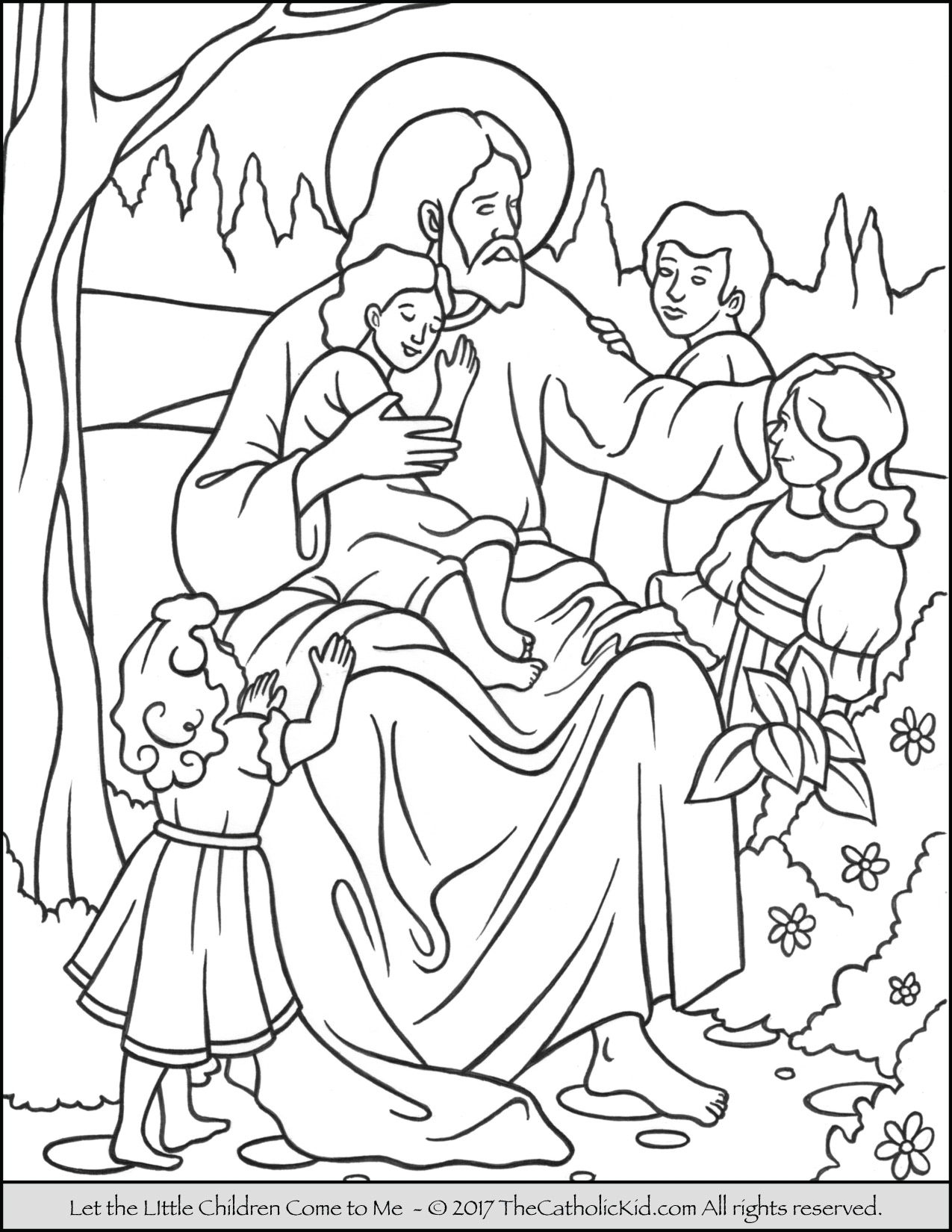 jesus and the children coloring page - jesus let the little children e to me coloring page