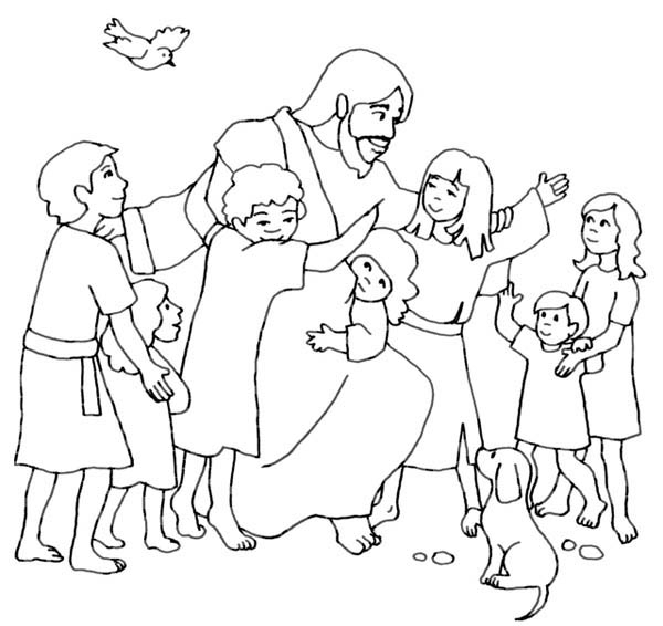 jesus and the children coloring page - jesus loves children and jesus love me coloring page