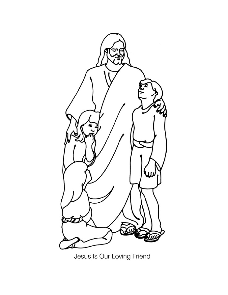 Jesus And The Children Coloring Page