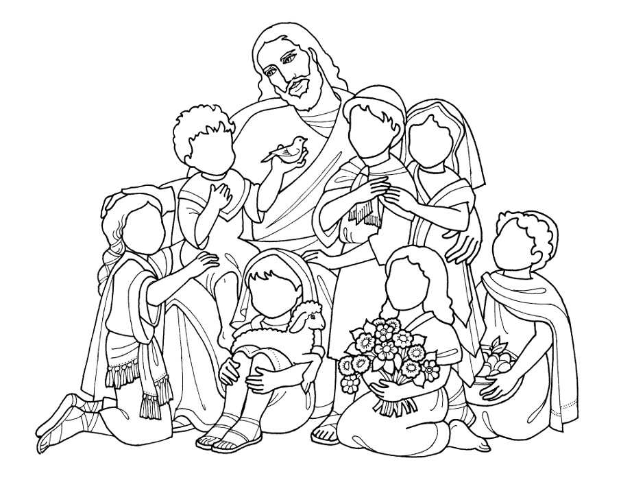 jesus and the children coloring page - jesus loves the little children coloring pages
