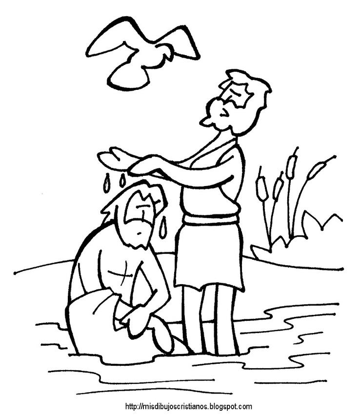 jesus baptism coloring page - baptism coloring pages