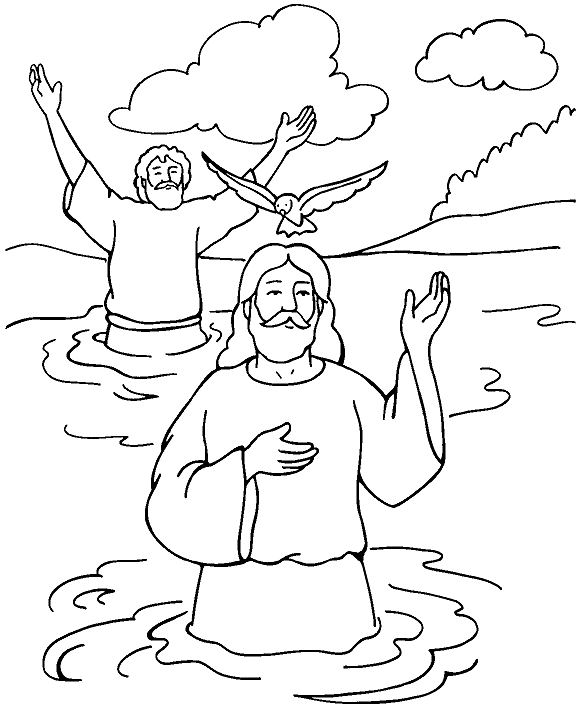 jesus baptism coloring page - baptism jesus coloring page