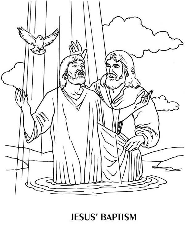 jesus baptism coloring page - jesus baptism by john the baptist coloring page