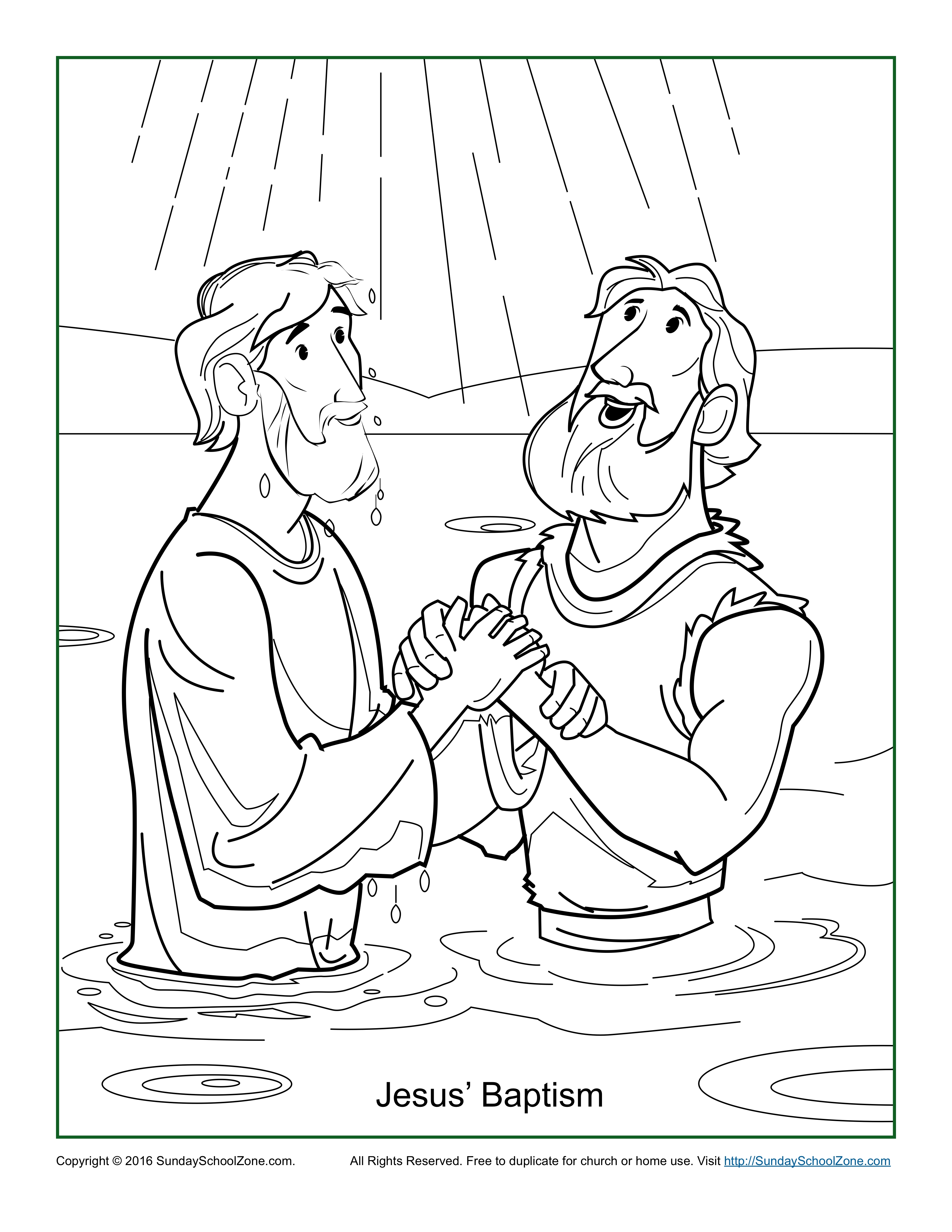 jesus baptism coloring page - jesus baptism coloring page