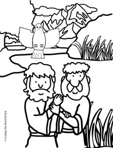 jesus baptism coloring page - john the baptist nt crafts