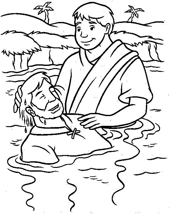 jesus baptism coloring page - kids coloring pages