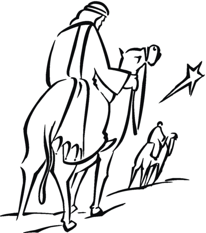 jesus birth coloring pages - les rois mages et letoile de noel