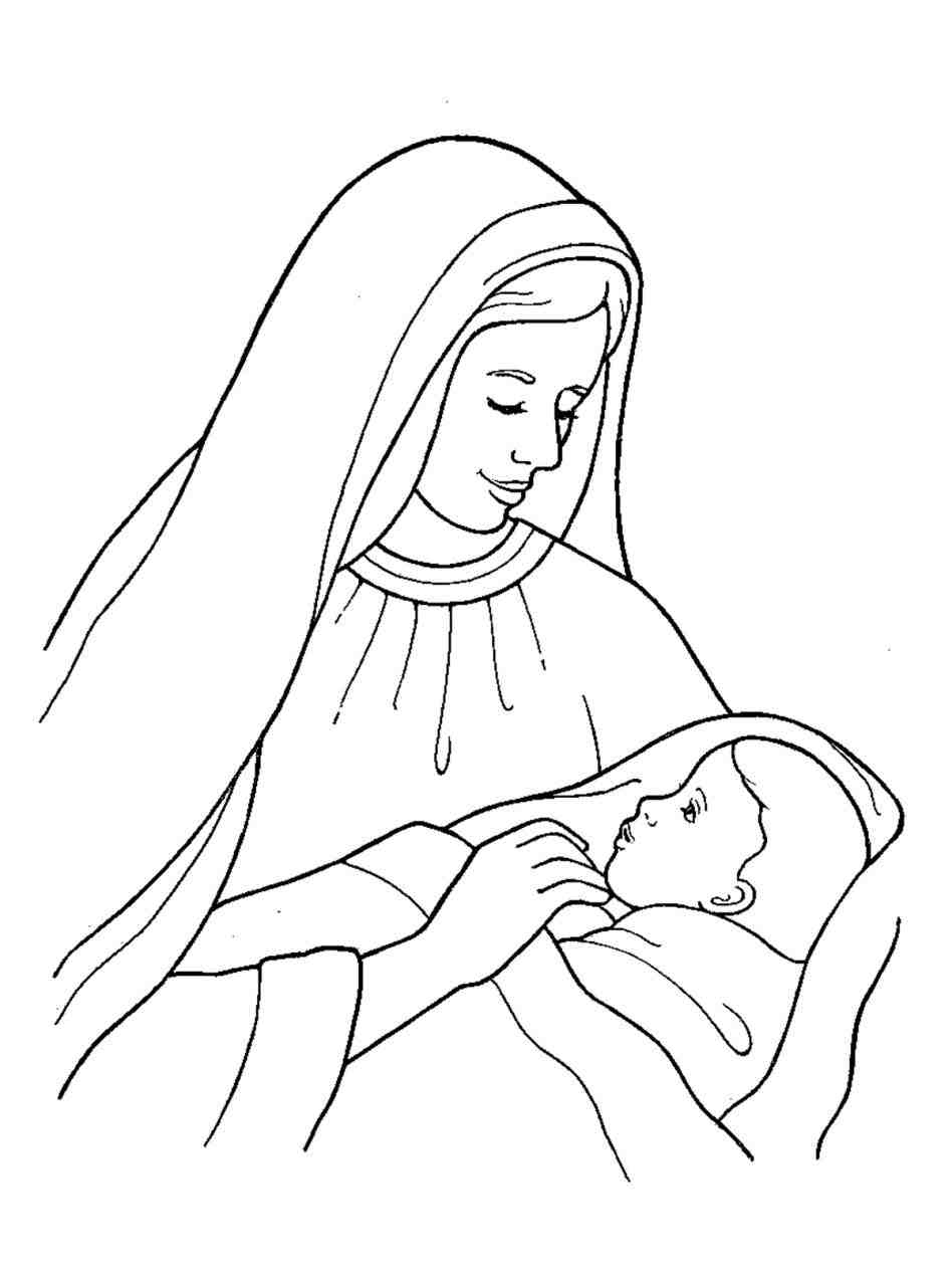 jesus birth coloring pages - jesus christmas pictures draw 3